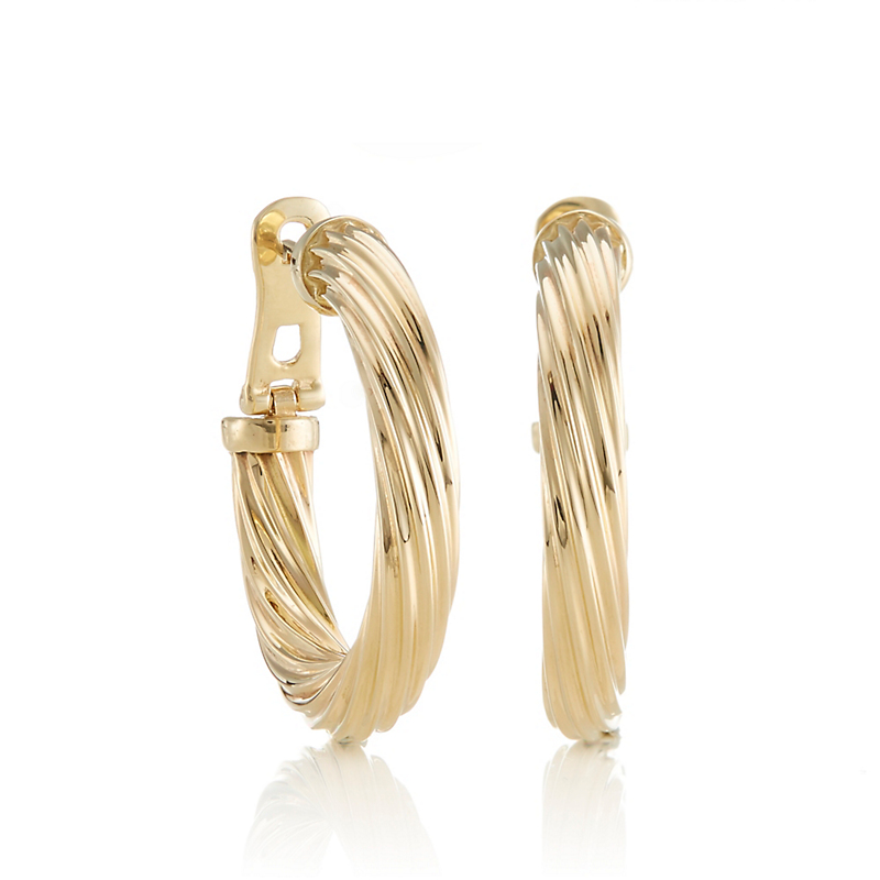 Fluted Gold Hoop Earrings