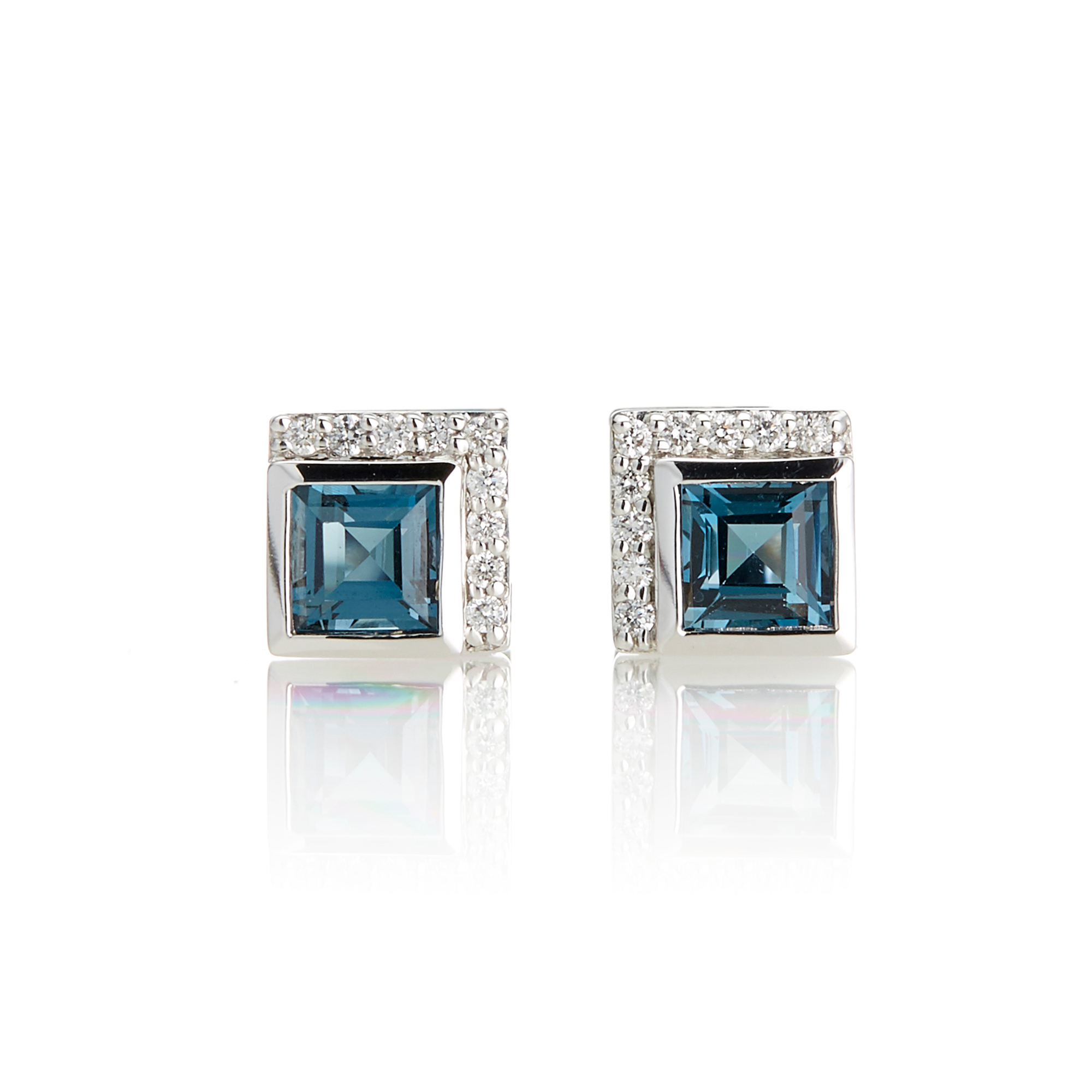 Jane Taylor London Blue Topaz & Diamond Petite Square Stud Earrings