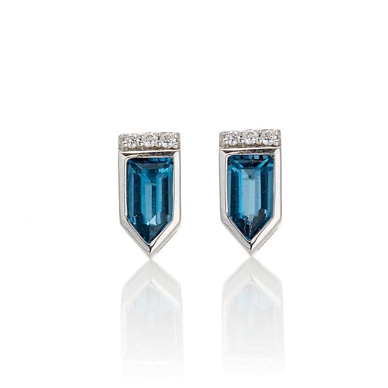 Jane Taylor Petite London Blue Topaz & Diamond Arrow Stud Earrings