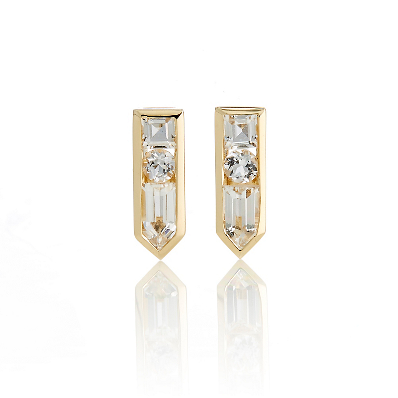Jane Taylor White Topaz Arrow Stud Earrings