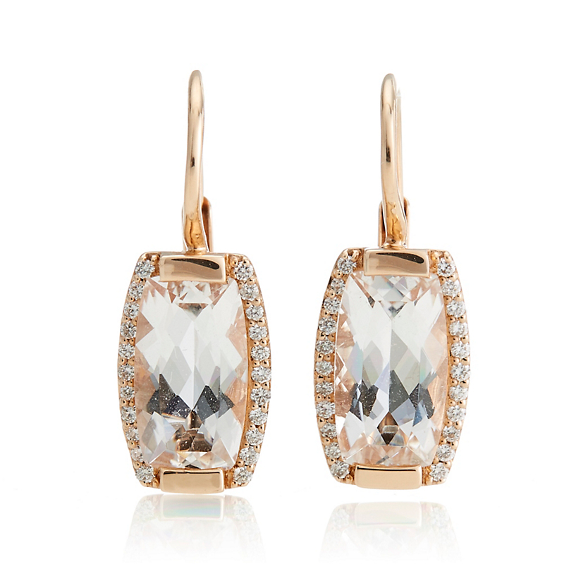 Jane Taylor White Quartz & Diamond Drop Rose Gold Tonneau Earrings