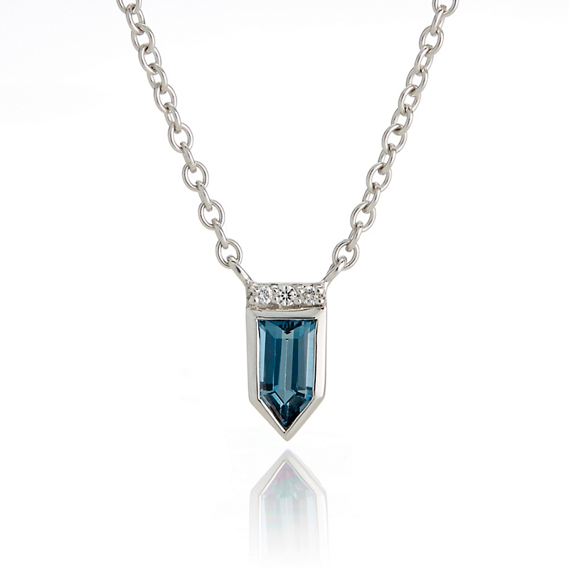 Jane Taylor Petite London Blue Topaz & Diamond White Gold Arrow Necklace
