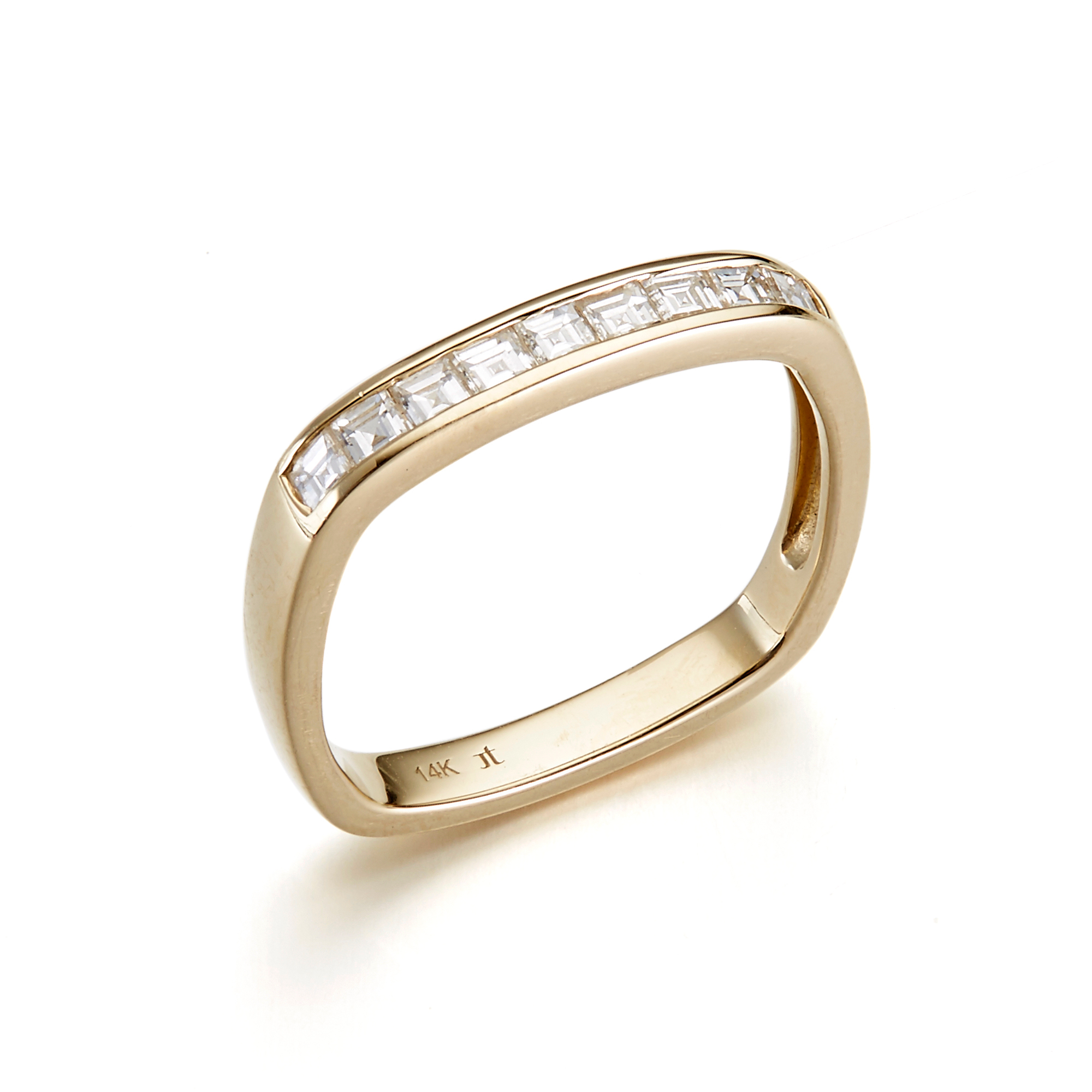 Jane Taylor Channel Set Diamond Square Band Ring, 2mm