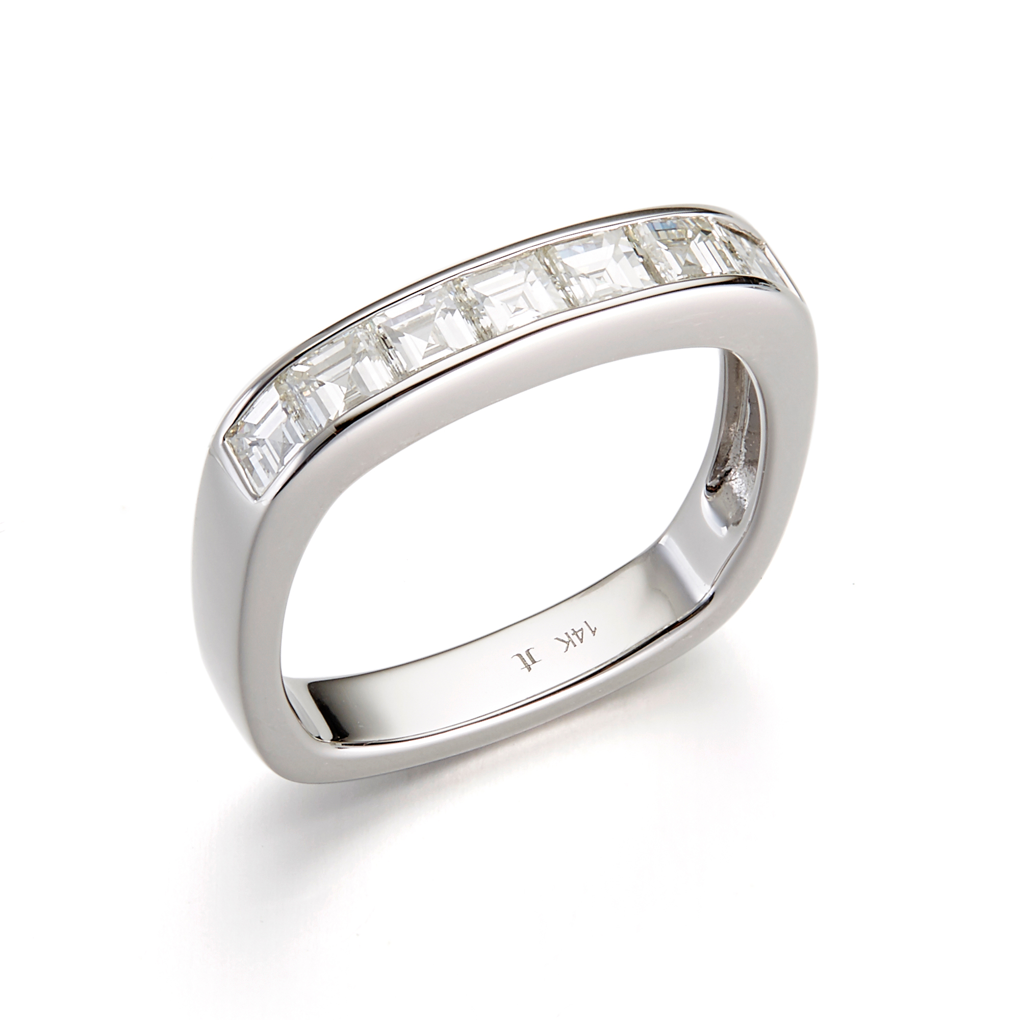 Jane Taylor Channel Set Diamond Square Band Ring, 3mm