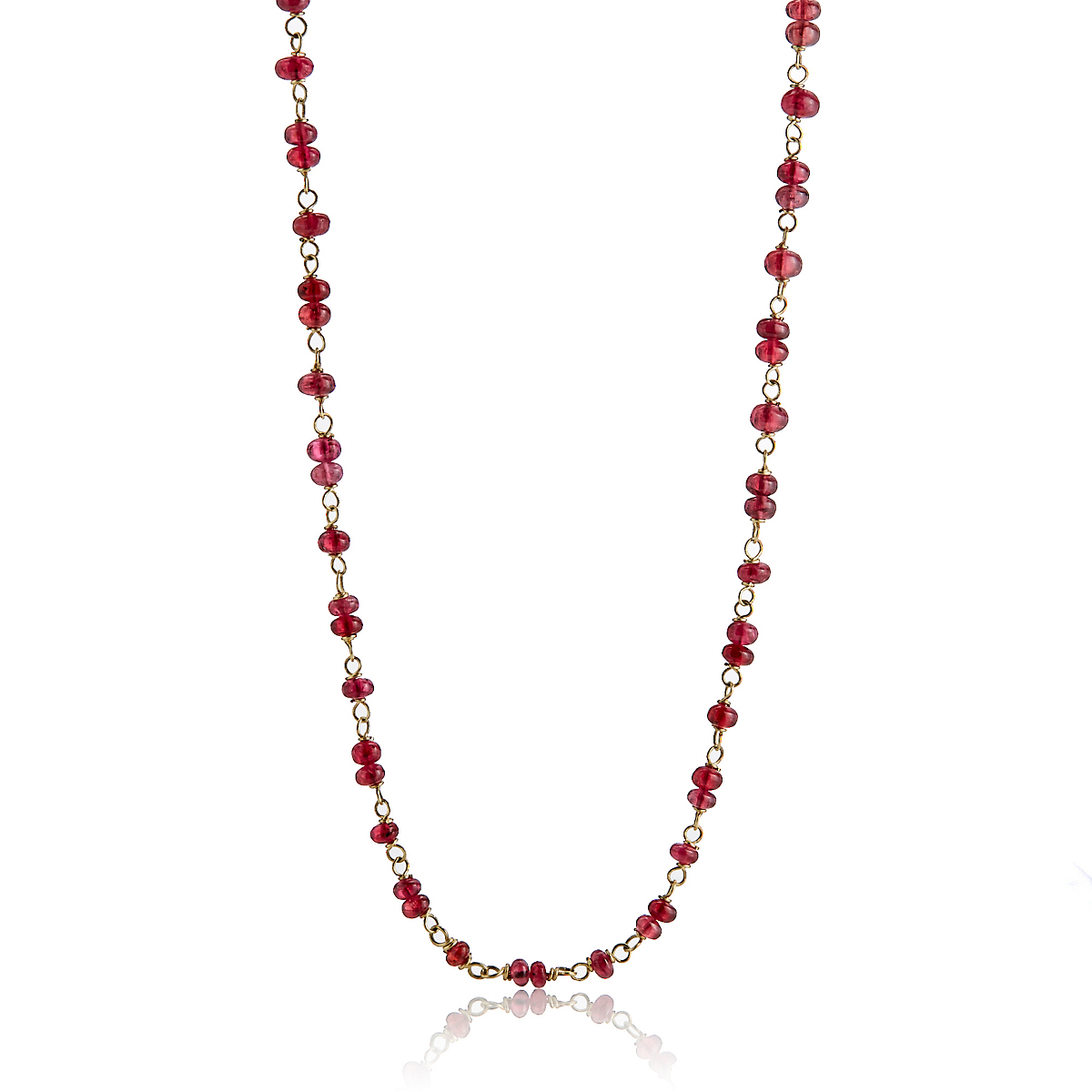 Adel Chefridi Pink Spinel Beads & Gold Necklace