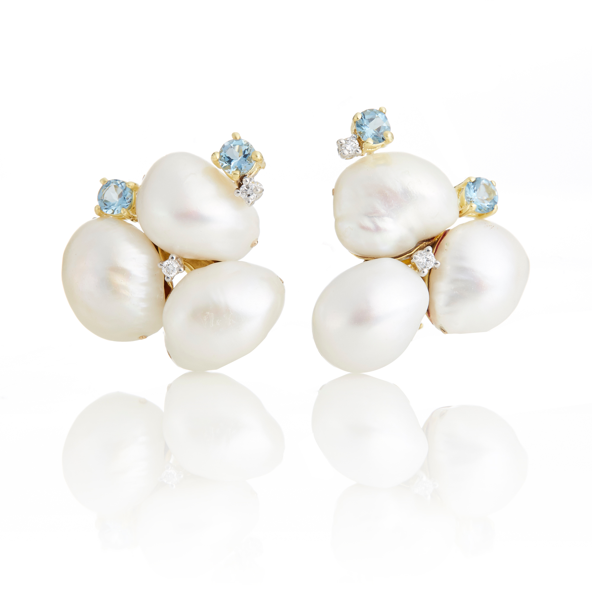 Baroque Pearl Trio Aquamarine Earrings