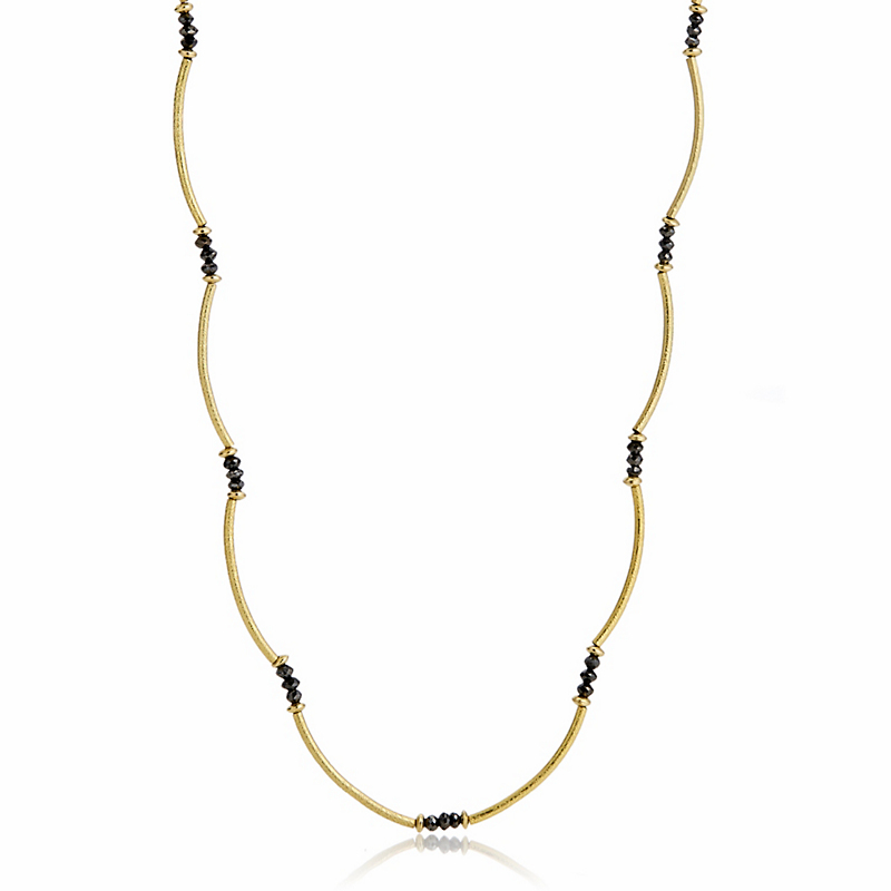 Barbara Heinrich Black Diamonds & Gold Curved Links Necklace