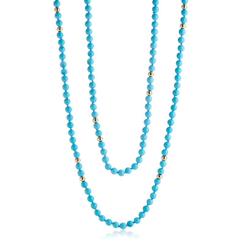Gump's Turquoise & Gold Bead Rope Necklace