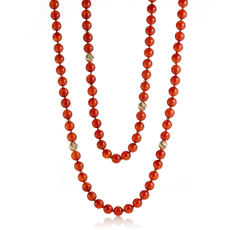 Gump's Carnelian & Gold Swirl Bead Rope Necklace