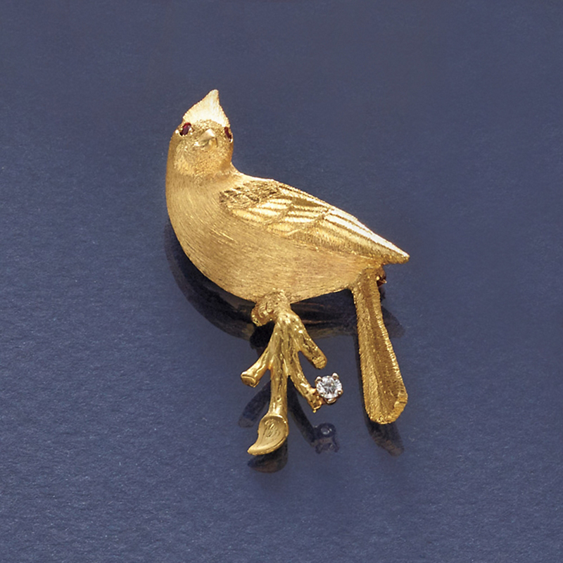 Cardinal Etched Gold and Diamond Brooch