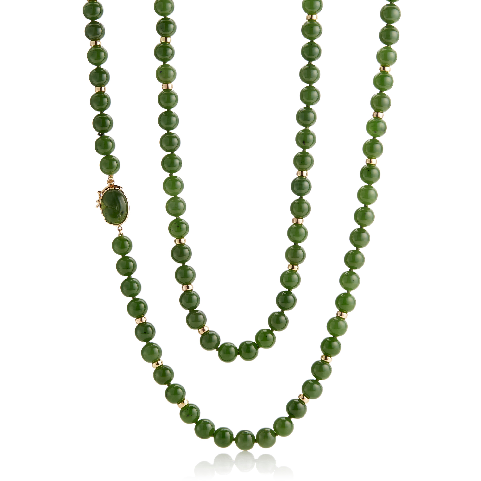 Gump's Green Nephrite Jade & Gold Rondelle Necklace