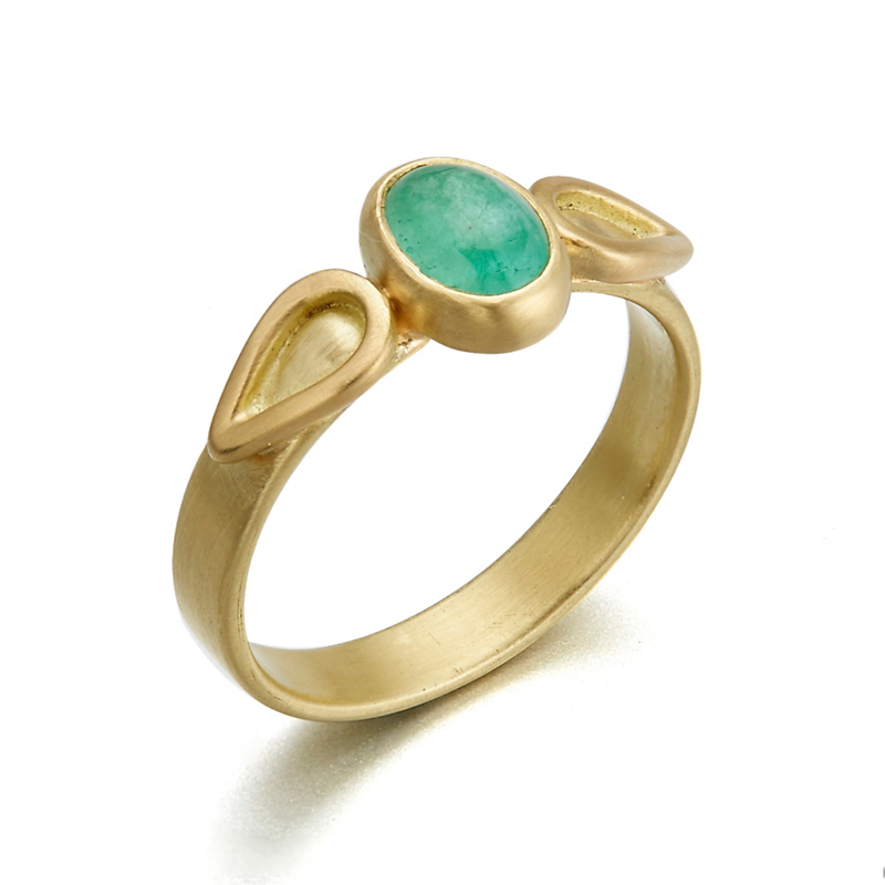 Monica Marcella Oval Emerald Flame Ring