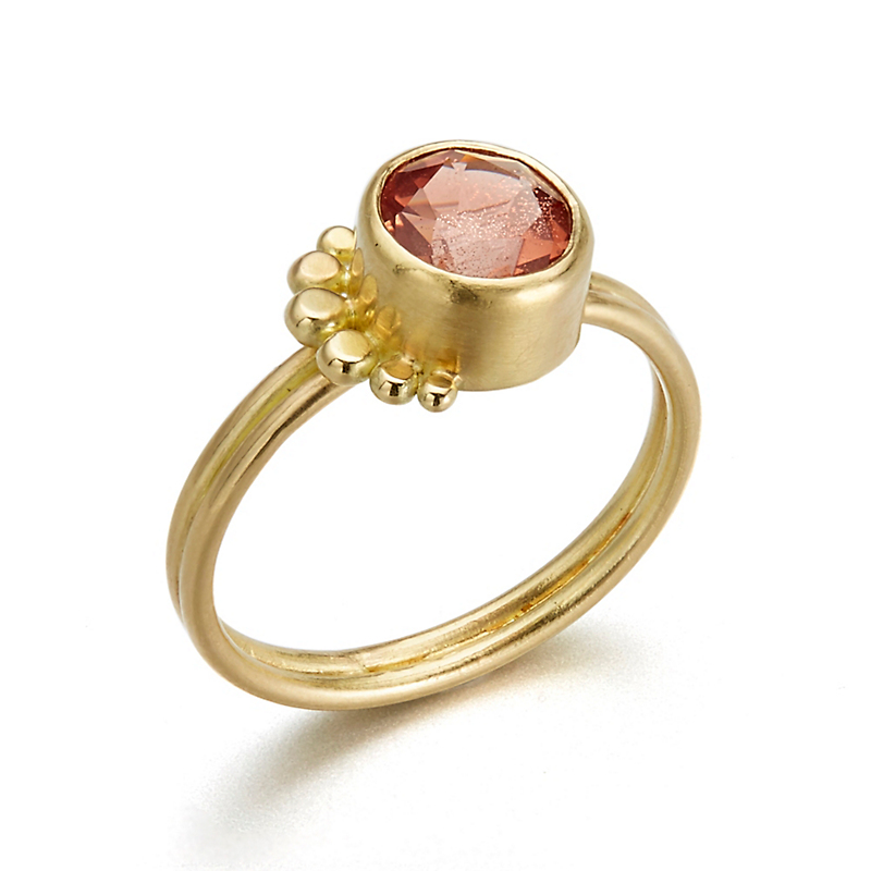 Monica Marcella Round Faceted Sunstone Fan Ring