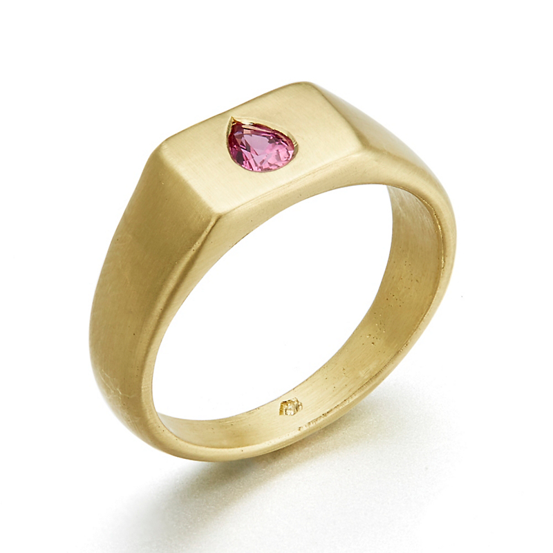 Monica Marcella Mesa Signet Ring with Pink Sapphire Teardrop
