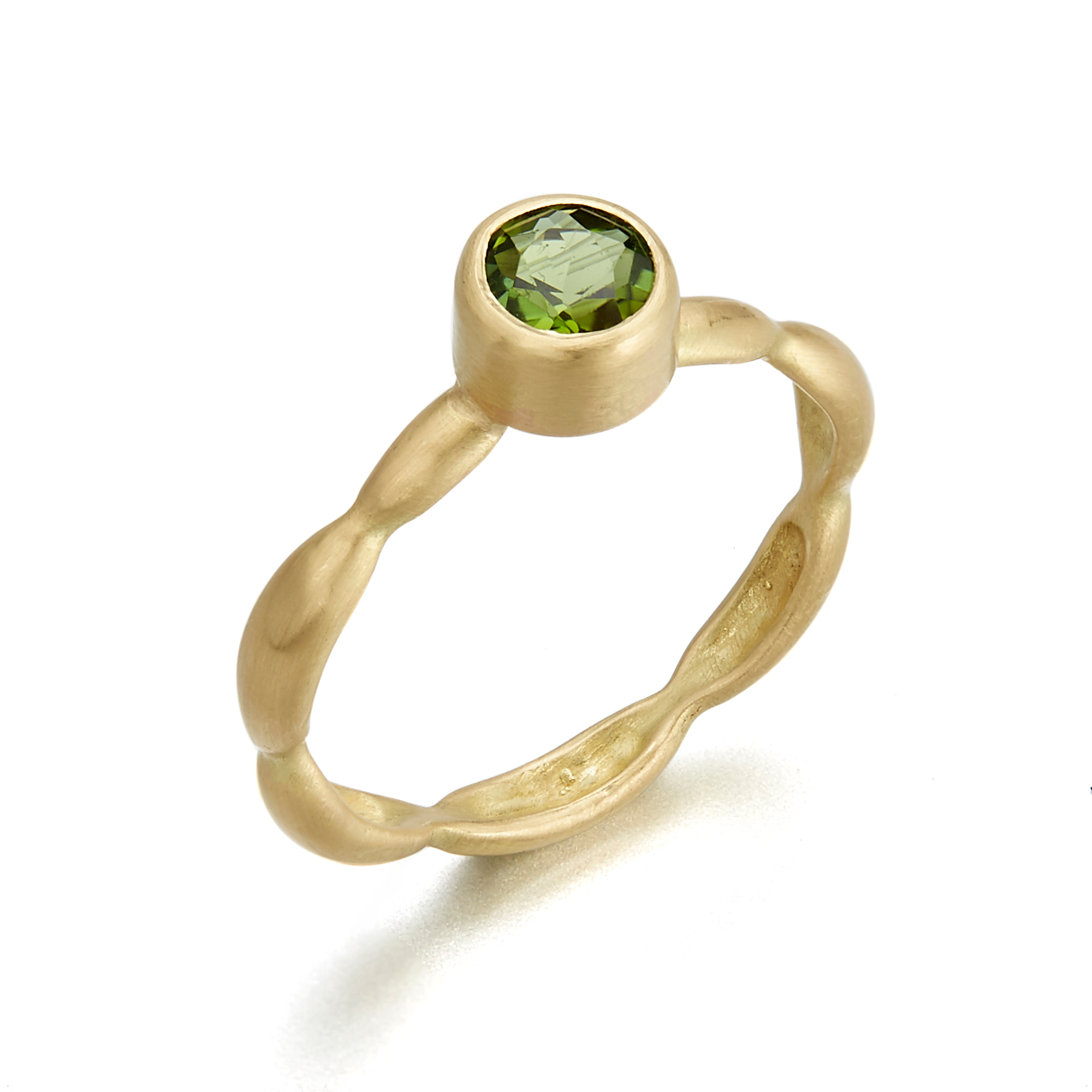 Monica Marcella Round Green Tourmaline Onidita Ring