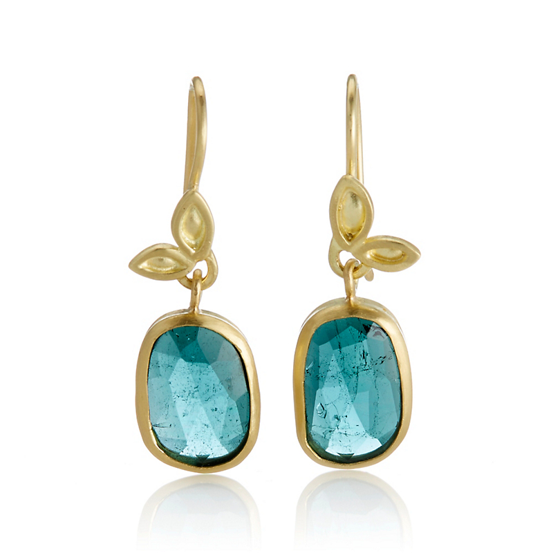 Monica Marcella Tourmaline Leaf Drop Earrings