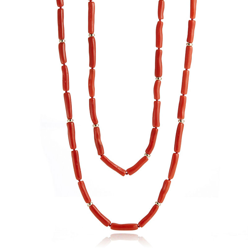Gump's Long Coral & Gold Rope Necklace