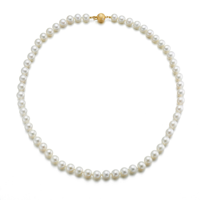 "Gump's 18"" Pearl Choker With Diamond-Studded Clasp"