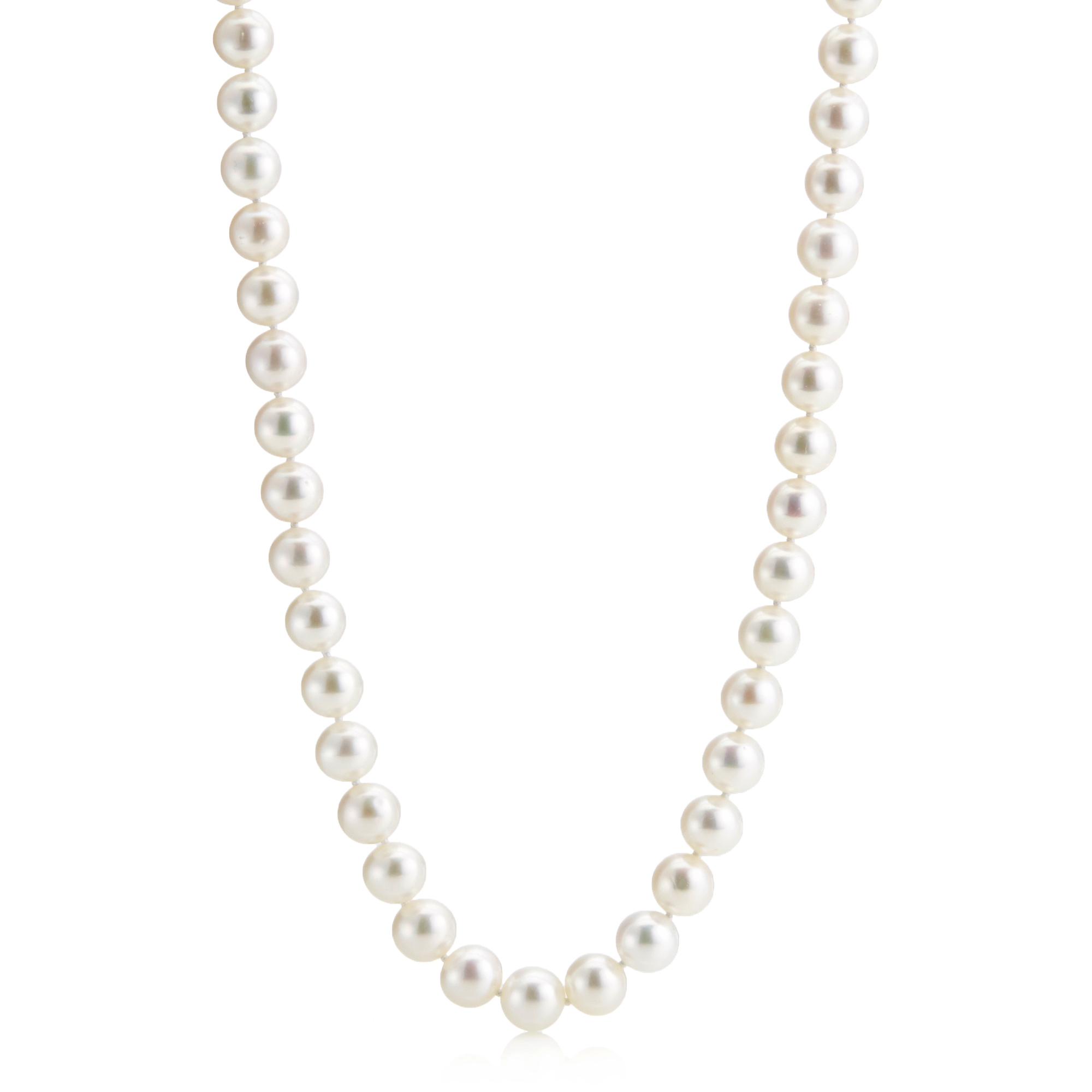 "Gump's 24"" Pearl Matinee With Diamond-Studded Clasp"