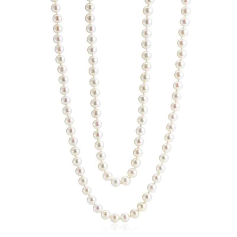"Gump's 36"" Pearl Opera With Diamond-Studded Clasp"