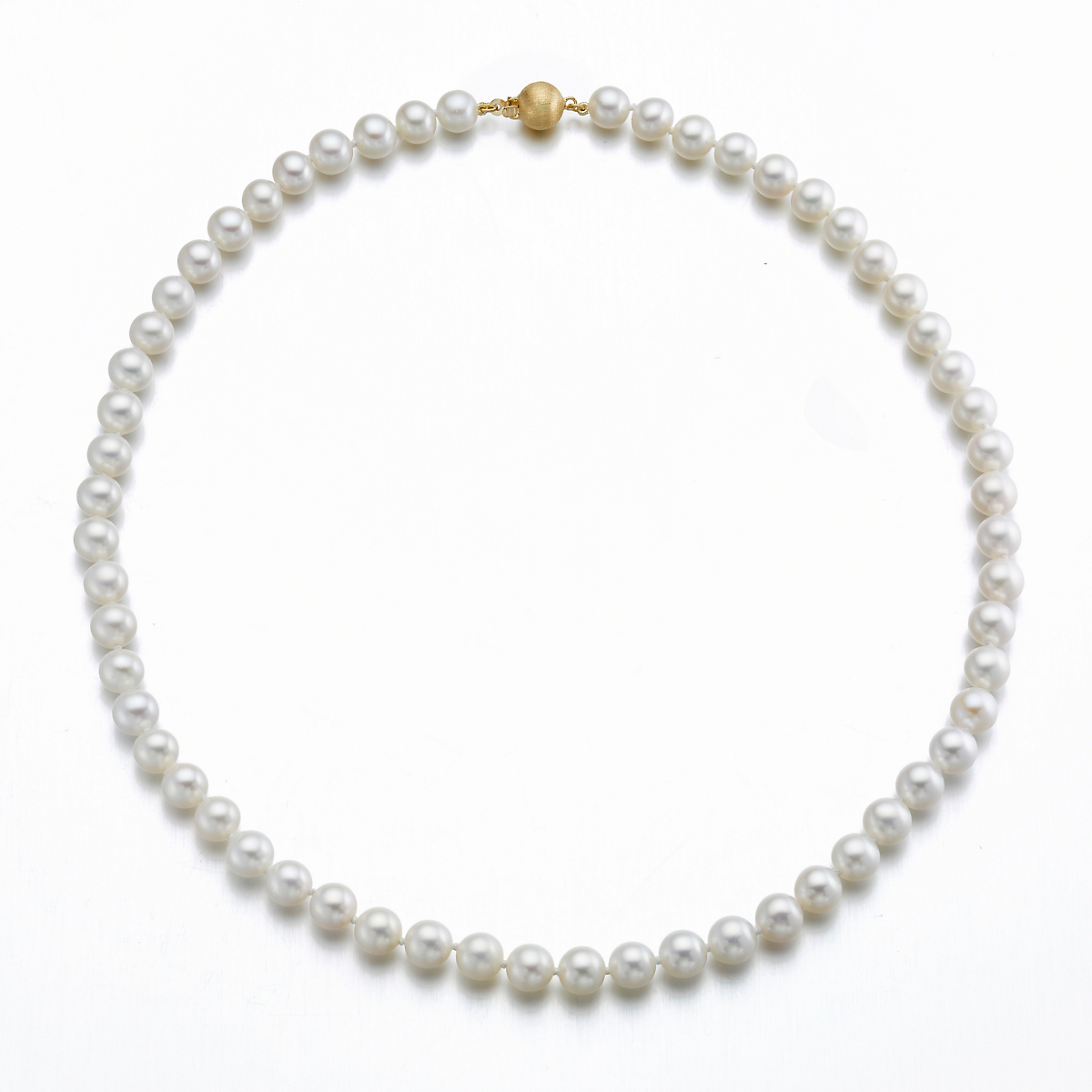 "Gump's 18"" Pearl Choker With Brushed Gold Clasp"