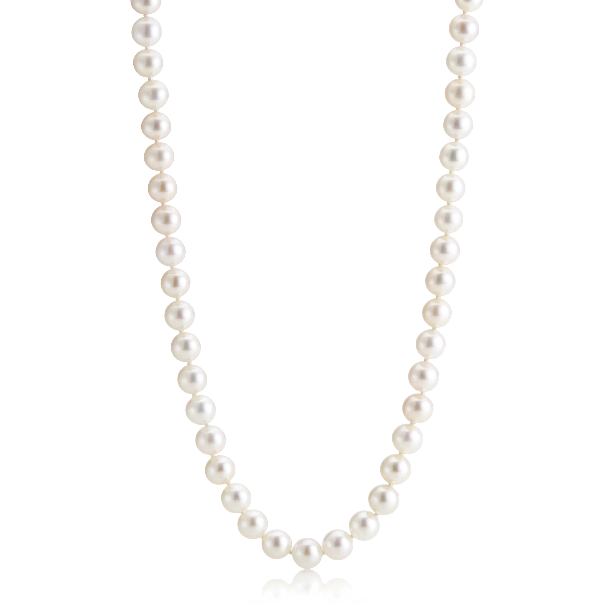 "Gump's 24"" Pearl Matinee With Brushed Gold Clasp"