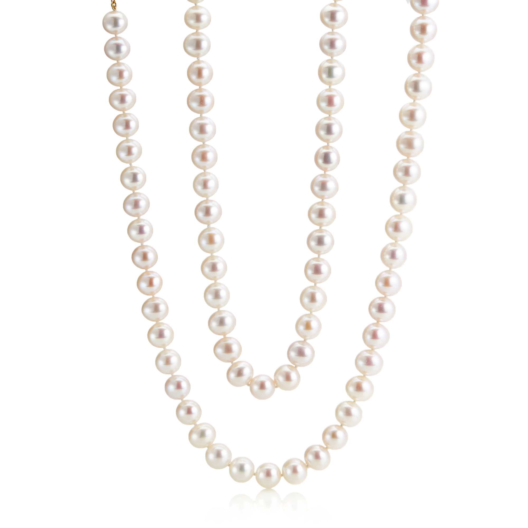 "Gump's 36"" Pearl Opera With Brushed Gold Clasp"
