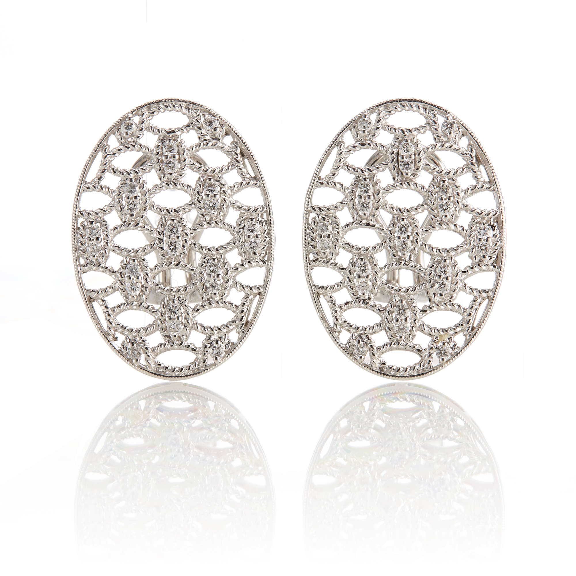Openwork Oval Diamond Earrings