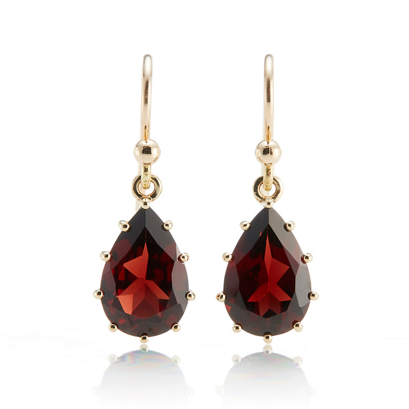 Gump's Garnet Teardrop Prong Set Drop Earrings