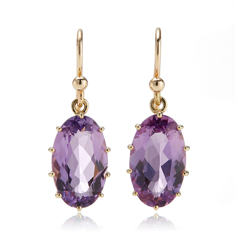 Gump's Amethyst Oval Prong-Set Drop Earrings
