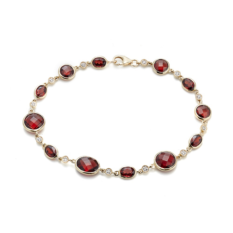 Multi Faceted Garnet And Diamond Bracelet