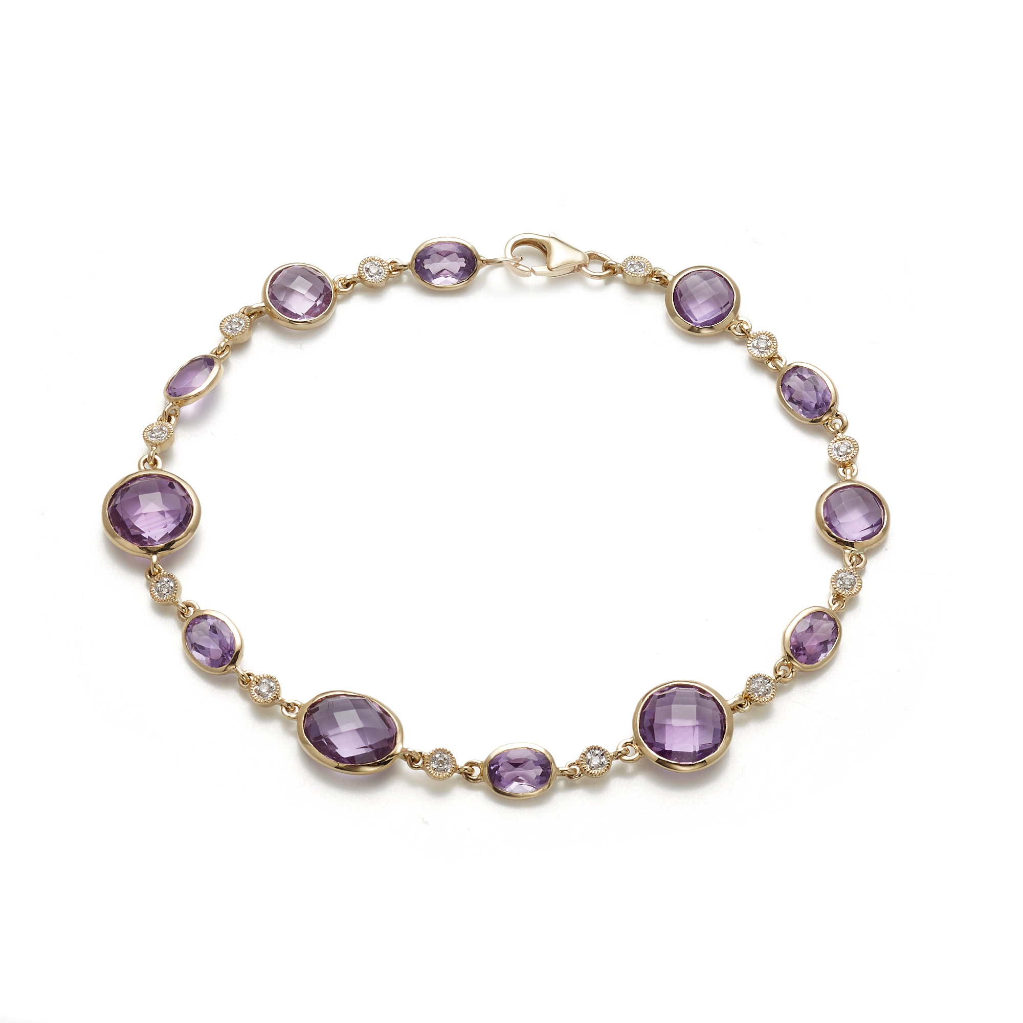 Faceted Amethyst & Diamond Bracelet