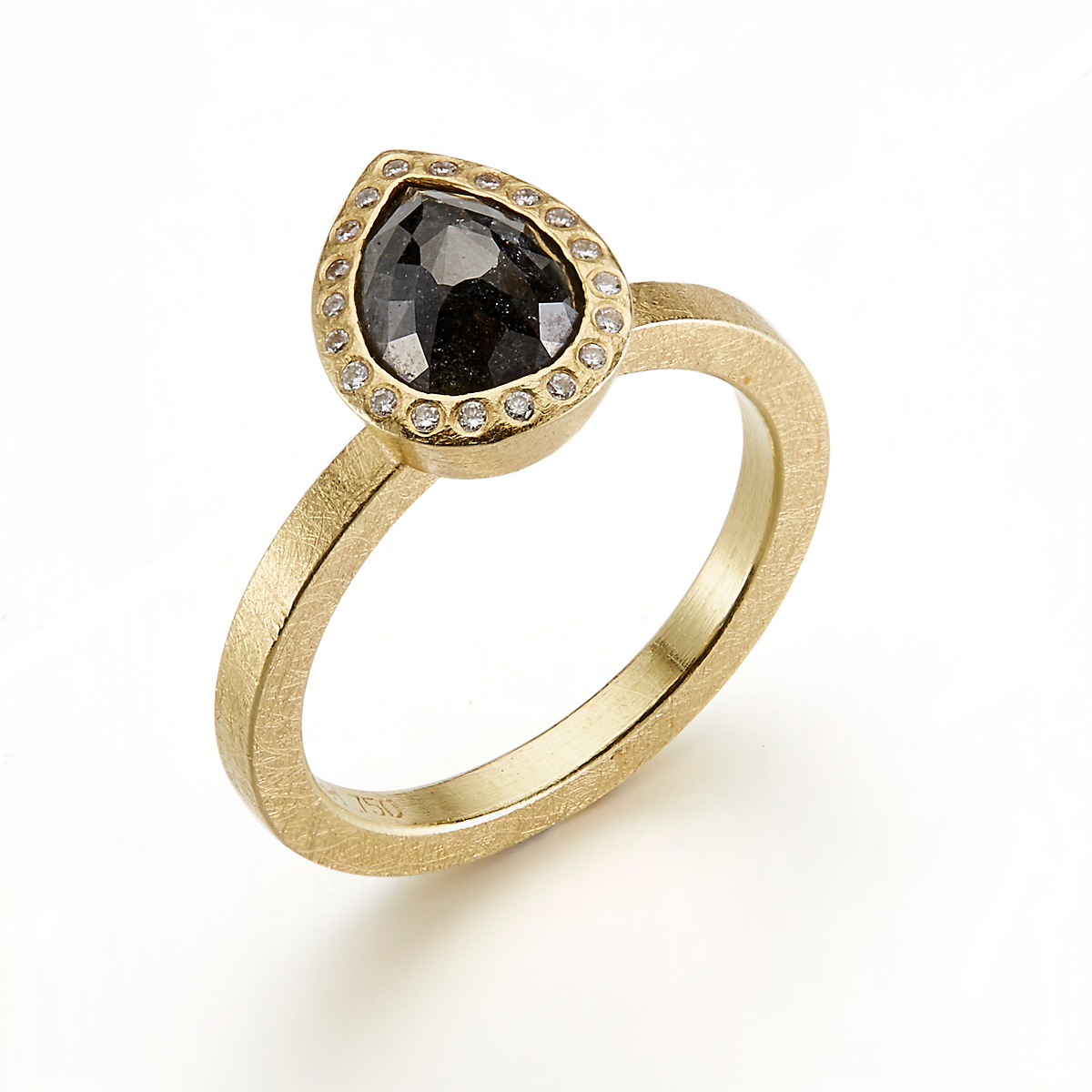 Todd Reed Faceted Black Diamond Pear Shape Ring
