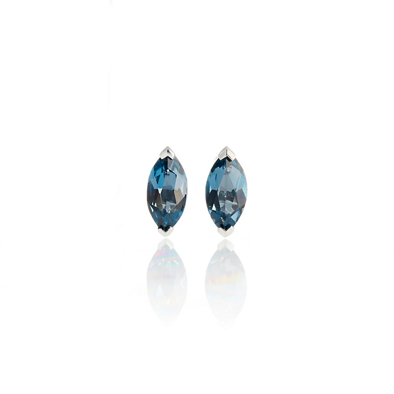 Gump's Petite Marquise London Blue Topaz Stud Earrings