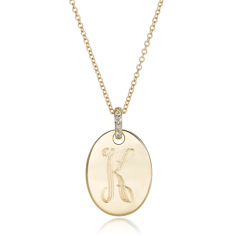 Gump's Petite Gold Oval Tag Pendant Necklace