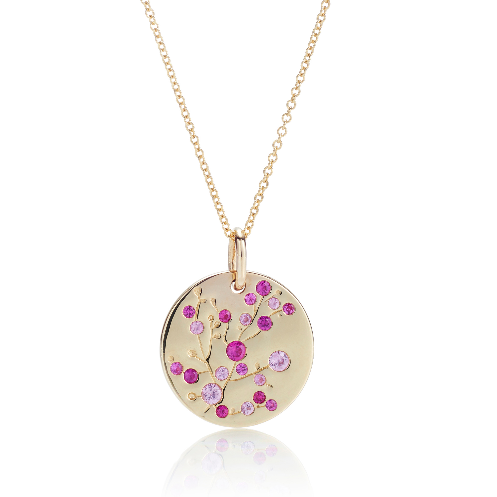Gump's Pink Sapphire Cherry Blossom Disc Necklace