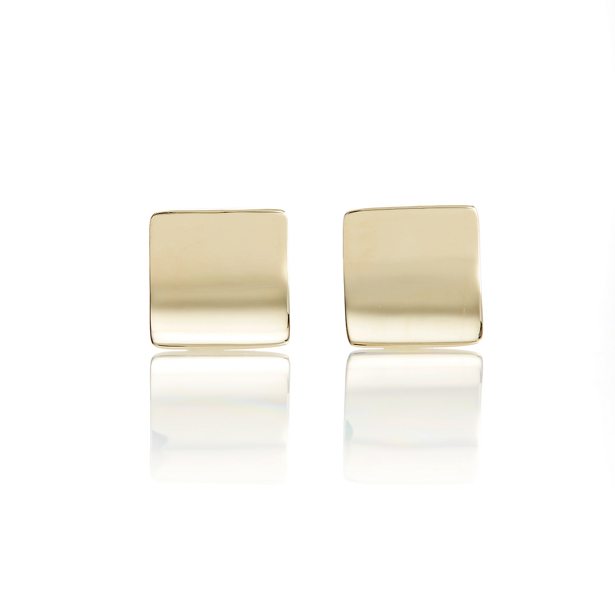 Gump's Gold Square Concave Stud Earrings