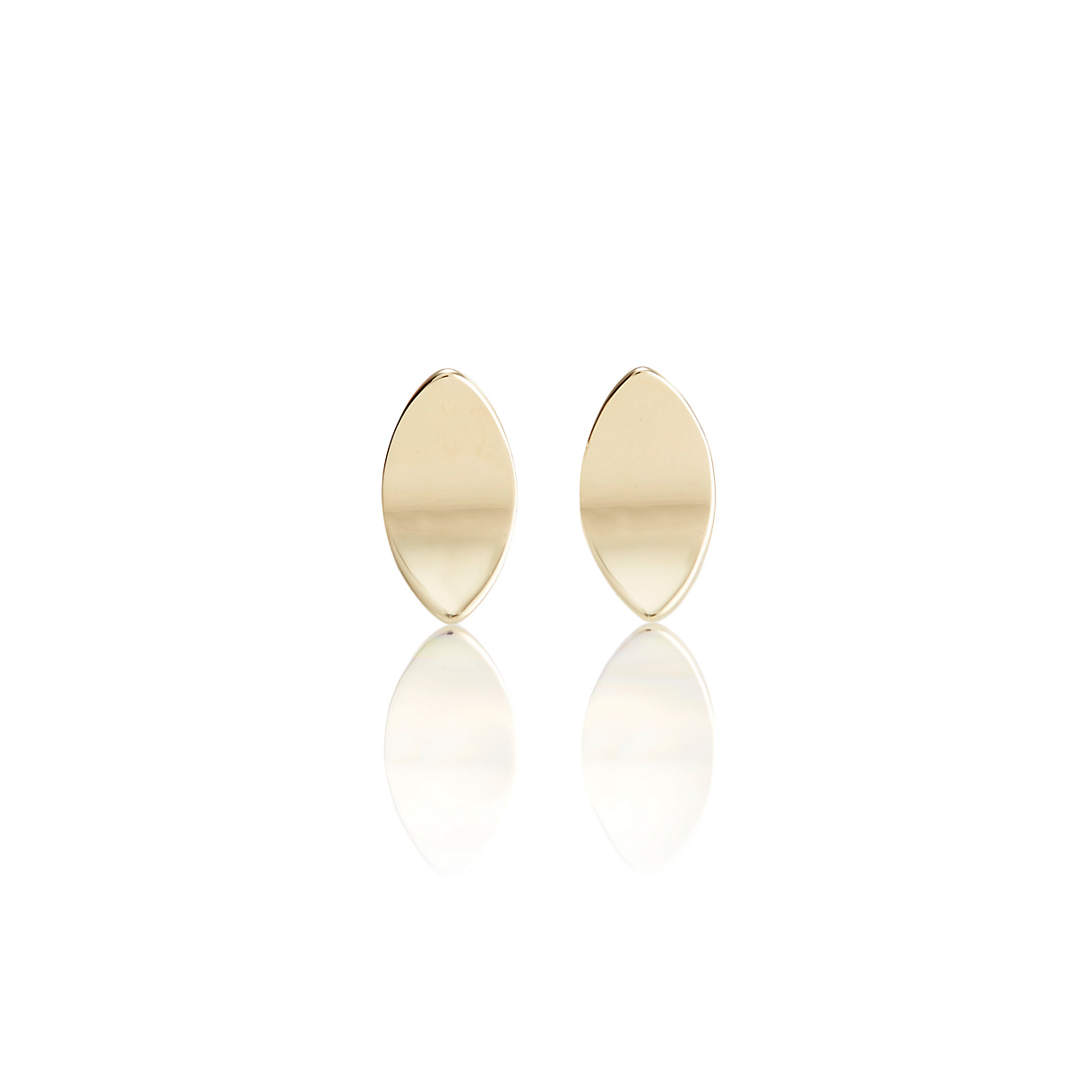 Gump's Gold Marquise Concave Stud Earrings