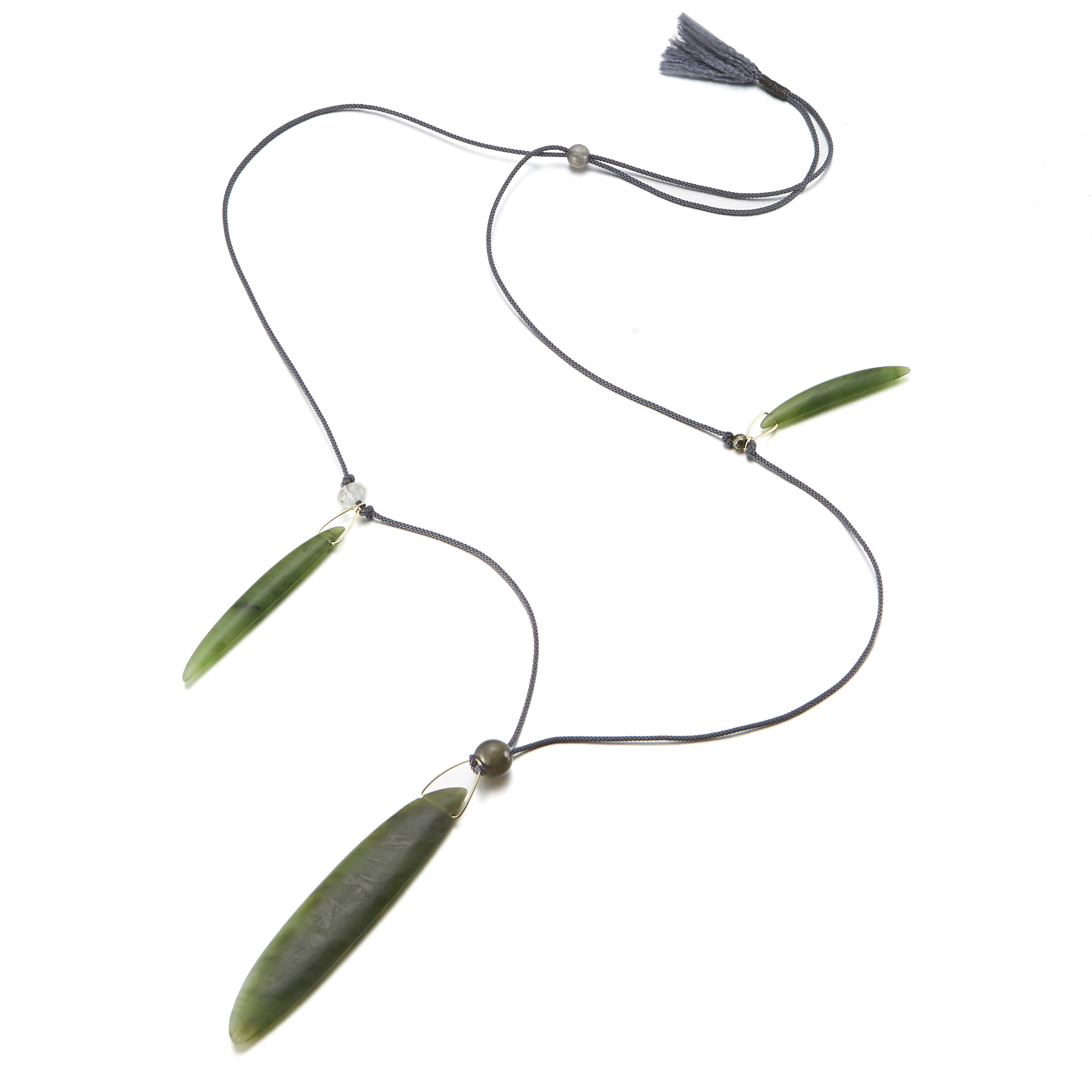 Gabriella Kiss Hand Carved Nephrite Jade Beans Necklace