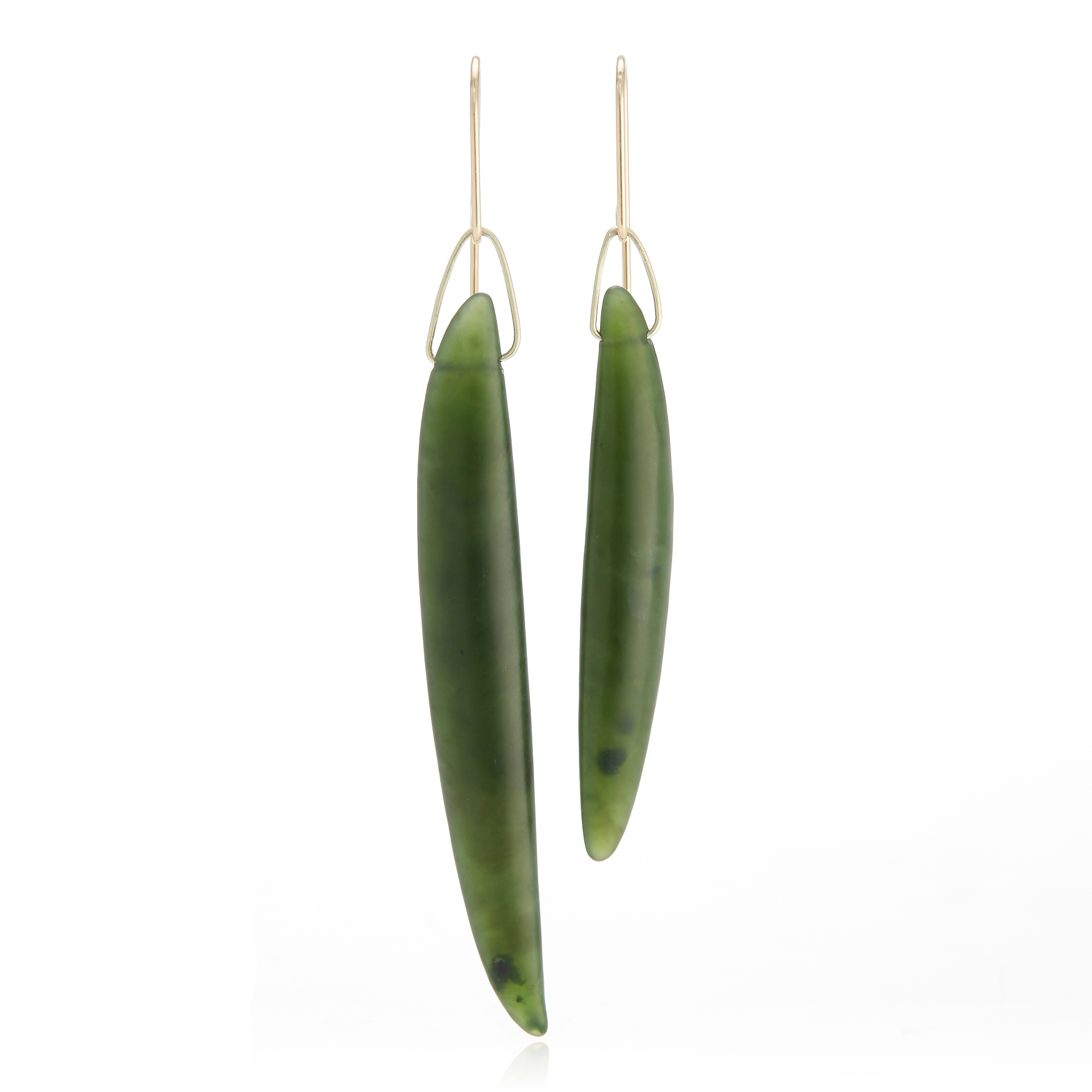 Gabriella Kiss Hand Carved Nephrite Jade Bean Earrings