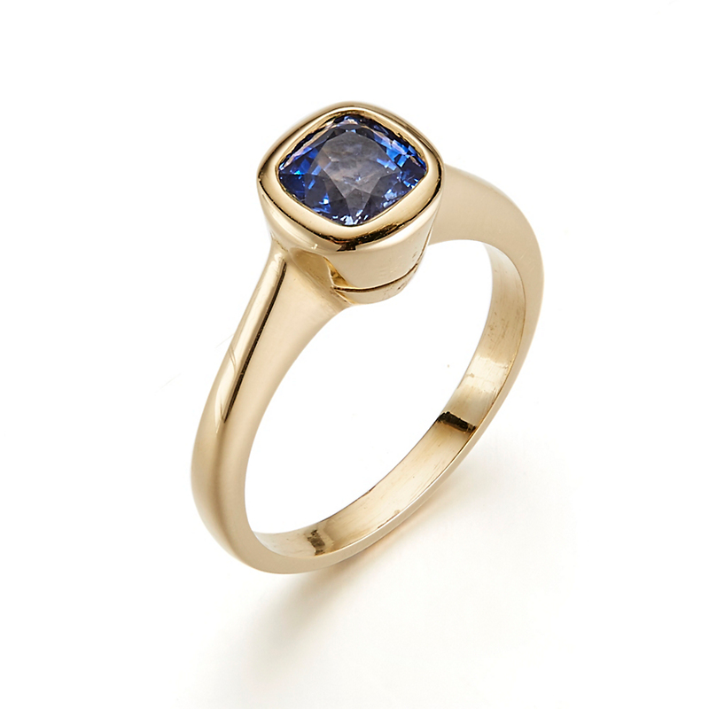 Gump's Light Blue Sapphire Bezel Set Ring