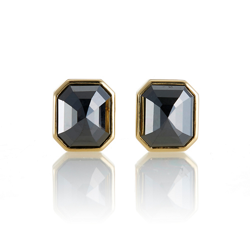 Gump's Bezel Set Hexagonal-Shaped Black Diamond Earrings