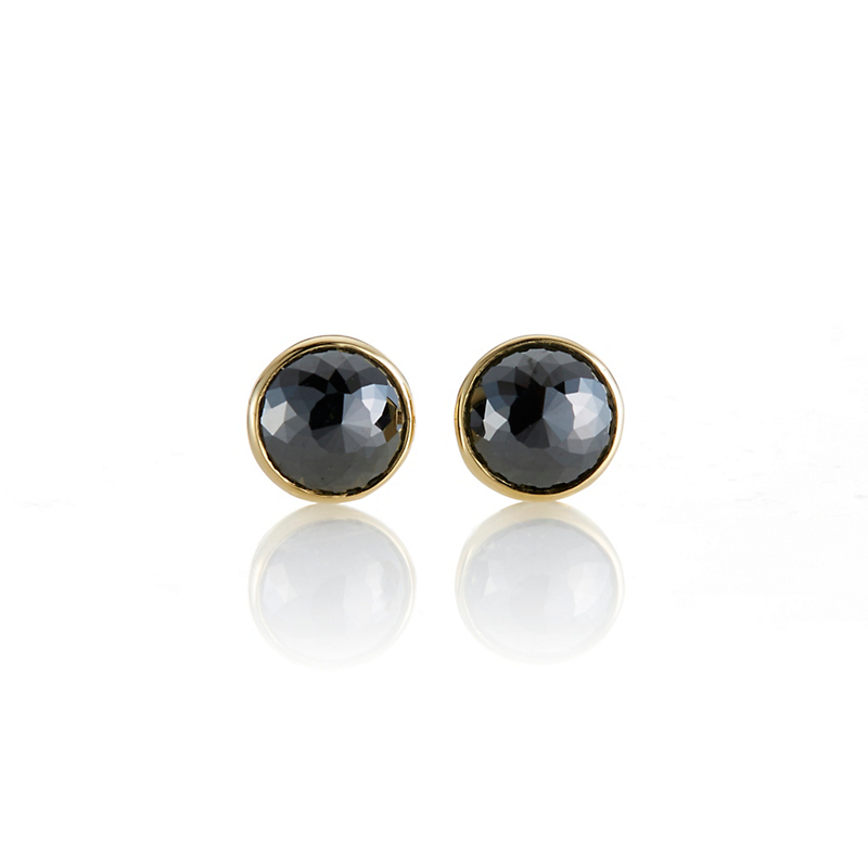 Gump's Bezel Set Round Black Diamond Earrings, 7.9mm