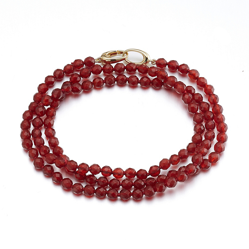 Gump's Faceted Carnelian Double Oval Clasp Bracelet