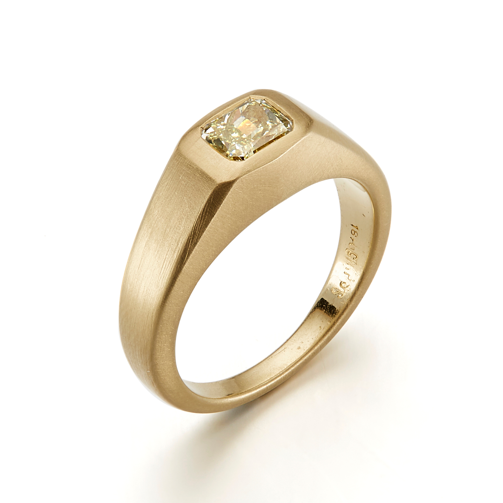 Gump's Bezel Set Yellow Diamond Matte Finish Signet Ring