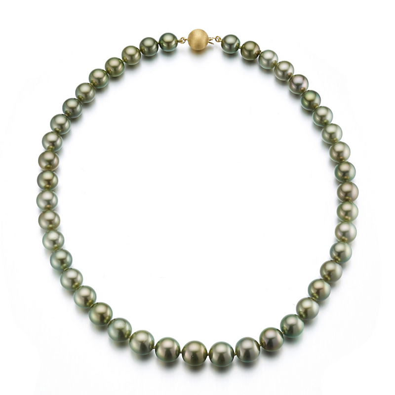 Gump's Graduated Pistachio Tahitian Cultured Pearl & Gold Necklace
