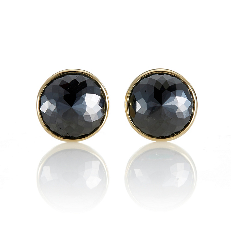 Gump's Bezel Set Round Black Diamond Earrings, 11.5mm