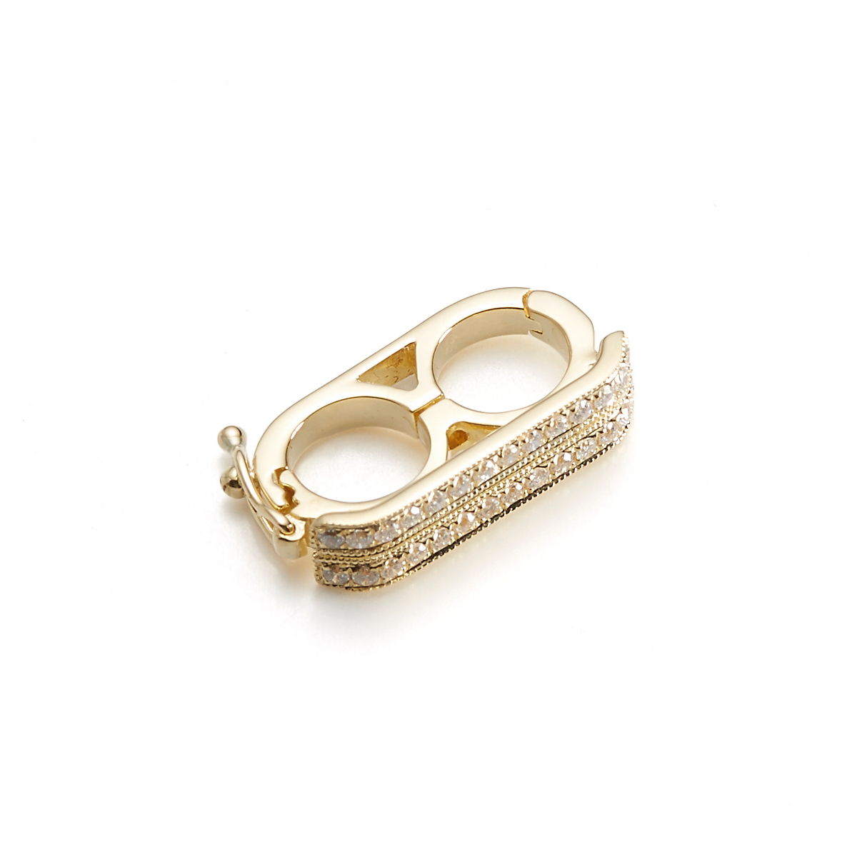 Two-Row Yellow Gold & Diamond Necklace Shortener