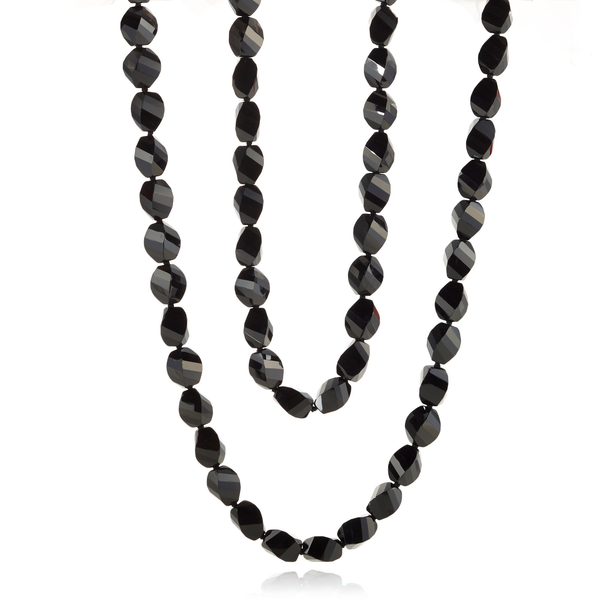 Oval Faceted Onyx Necklace