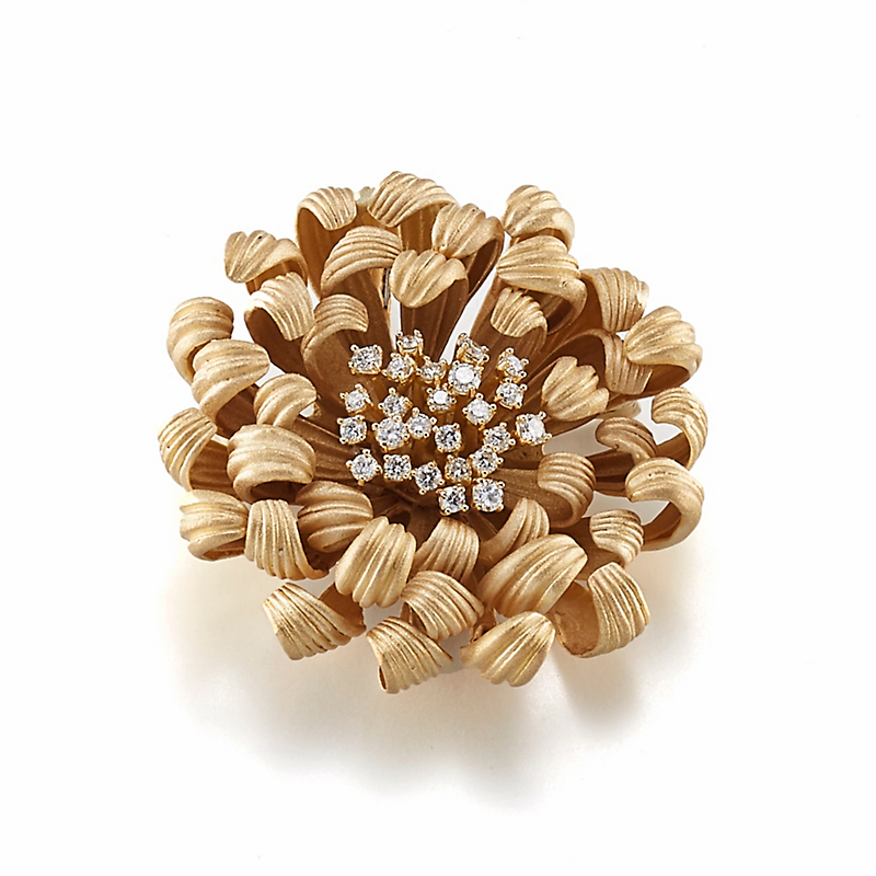 Chrysanthemum Diamond Brooch